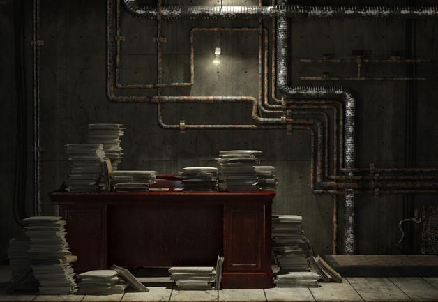 3 - Grunge basement office